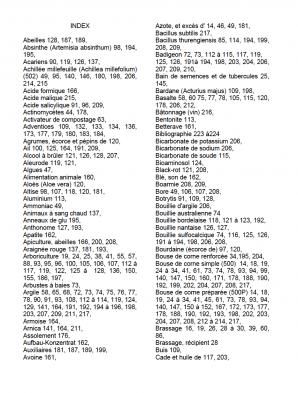 """Index du """"Guide pratique pour l'agriculture biodynamique"""". Edition 2012."""